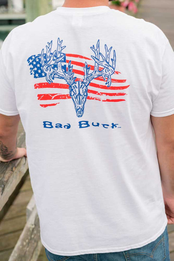 Bad Duck American Flag with antlers t-shirt.