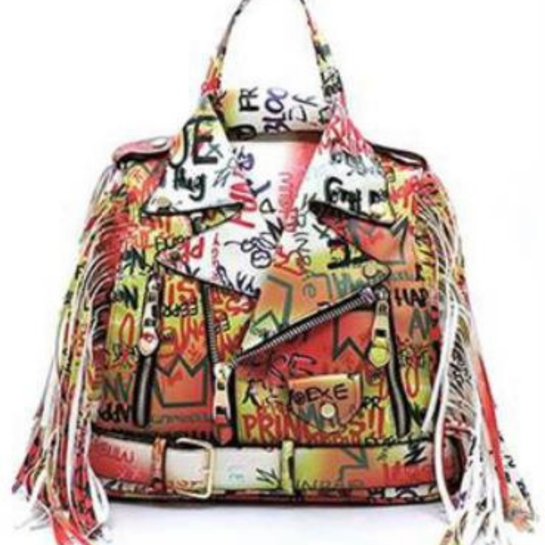Graffiti Print Leather Backpack - Forever Mahone
