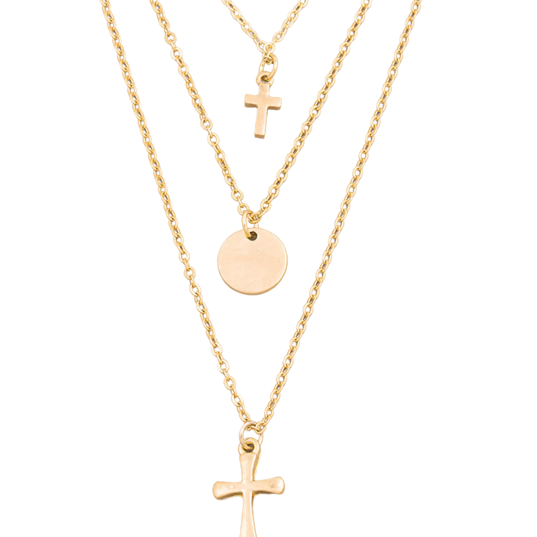 3 Pieces Cross Necklaces Sets - Forever Mahone