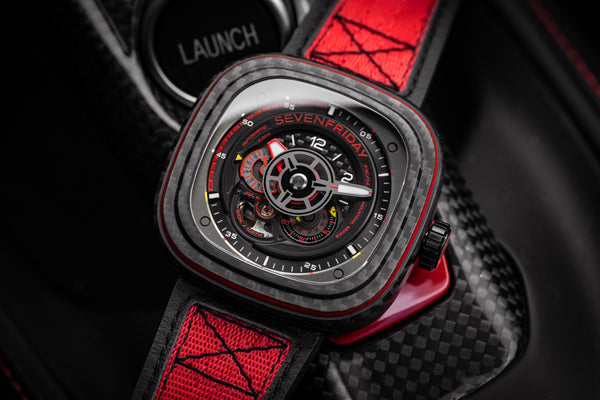 "Adrenaline burst with the SEVENFRIDAY P3C/04 ""Red Carbon""!"