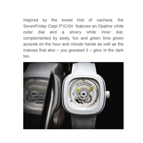 SevenFriday Caipi P1C/04 features a bright and breezy Opaline white finish just in time for summer