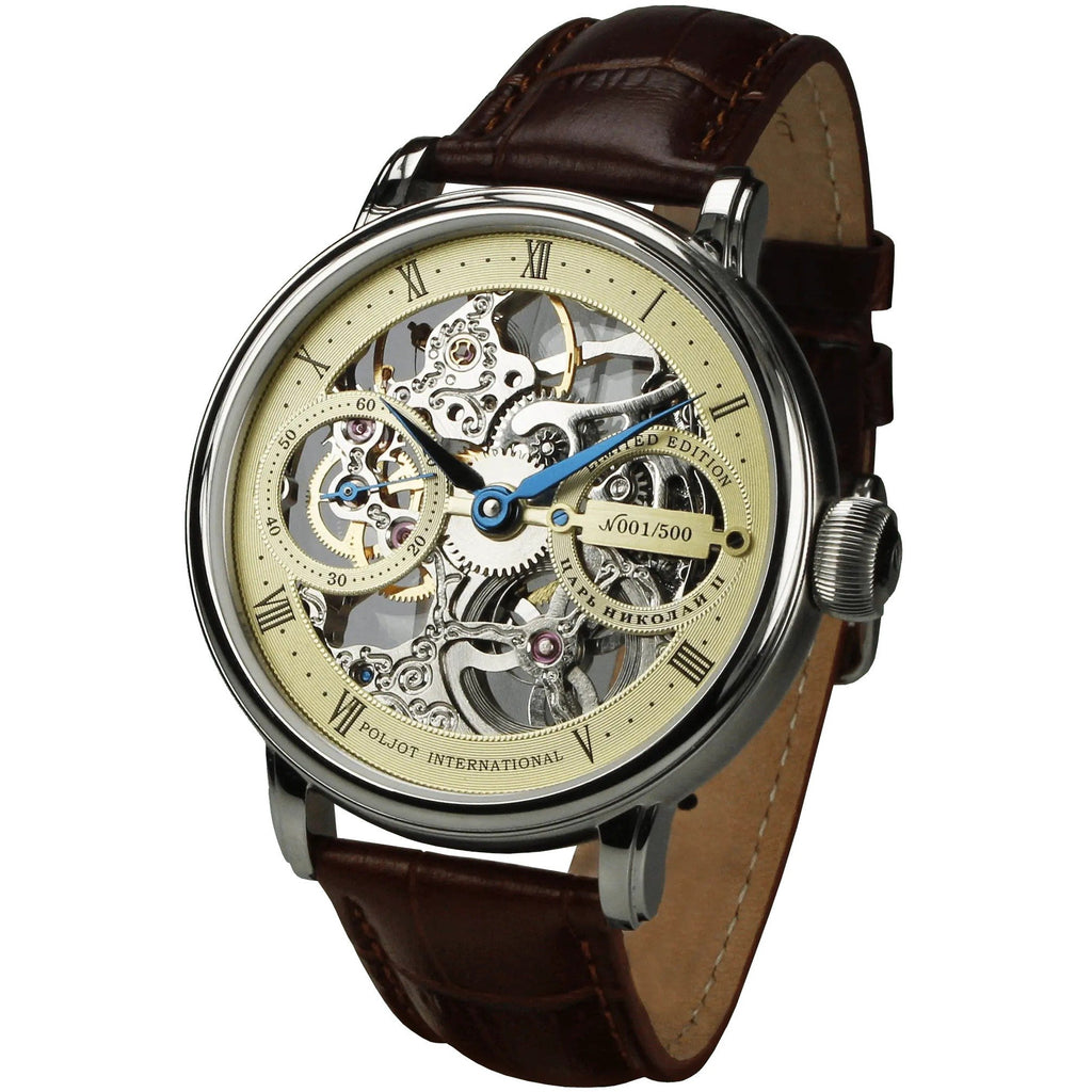 POLJOT INTERNATIONAL Nicolaii II Skeleton 9211.1940902 Champagne - Red Army Watches Malaysia