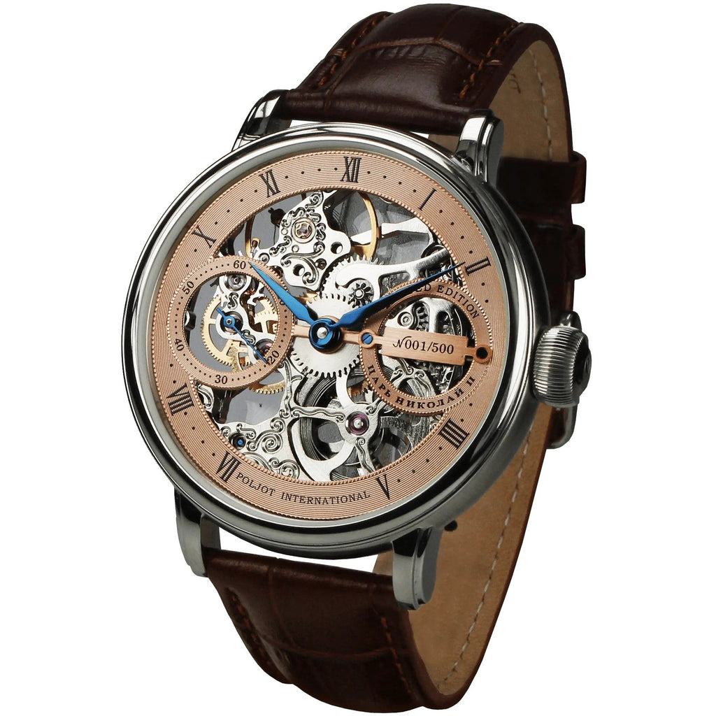 POLJOT INTERNATIONAL Nicolaii II Skeleton 9211.1940903 Rose - Red Army Watches Malaysia