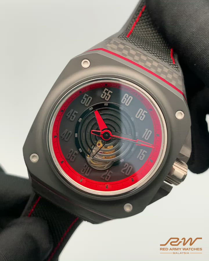 GORILLA Fastback Carbon GT Spectre - Layered case construction with woven forged carbon case, matte ceramic bezel, anodized aluminium pinstripe, screw-down titanium crown for improved water resistance
