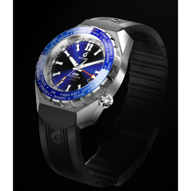 BOLDR Globetrotter GMT [Diver's Watch] Limited Edition - Blue - Red Army Watches Malaysia