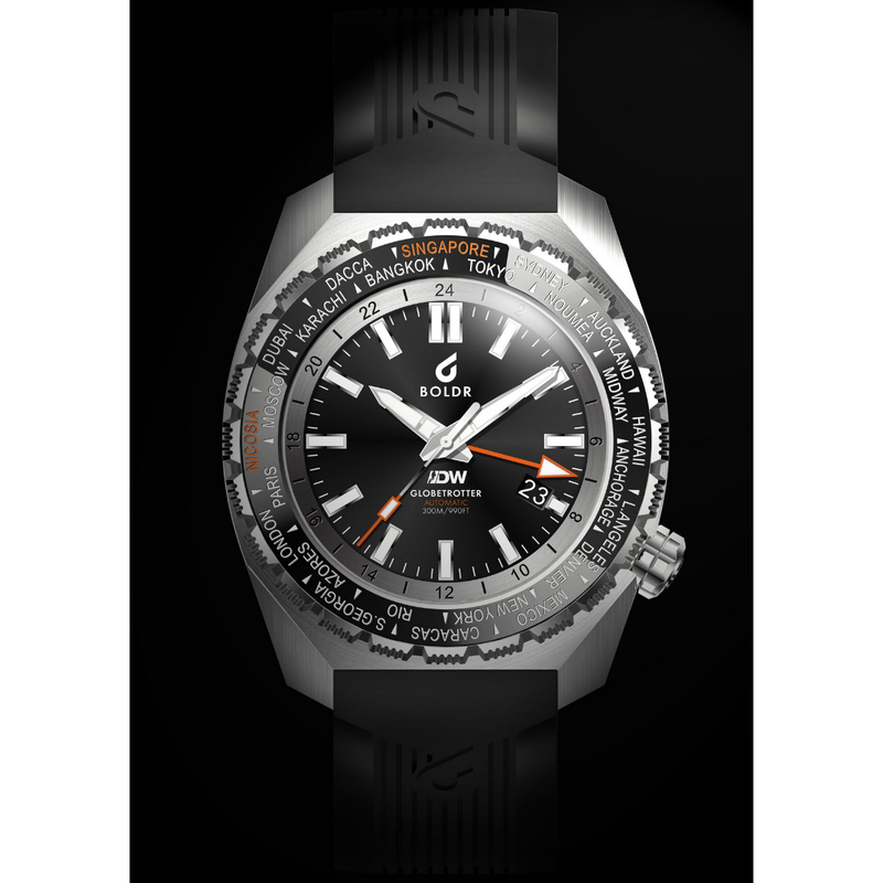 BOLDR Globetrotter GMT [Diver's Watch] Limited Edition - Black - Red Army Watches Malaysia