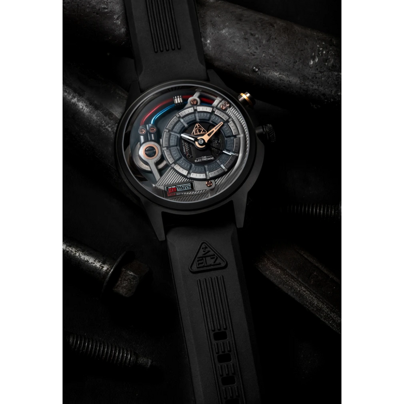 The ELECTRICIANZ Black Embossed Rubber Strap - Red Army Watches Malaysia