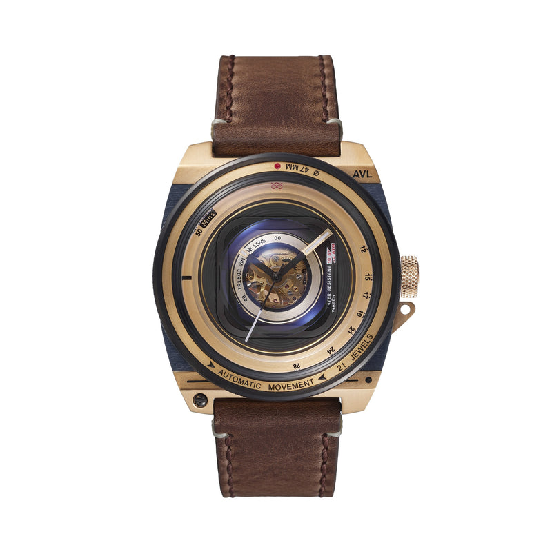 TACS Automatic Vintage Lens II (Gold Leather) - Red Army Watches Malaysia