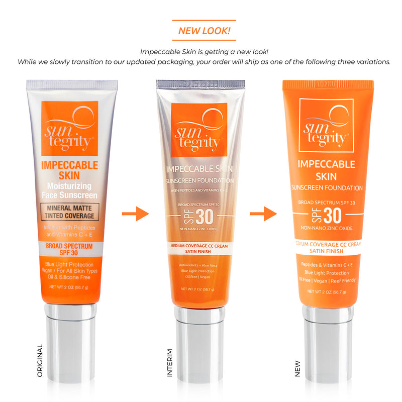 Suntegrity Impeccable Skin CC Cream with SPF natural sunscreen tube changes