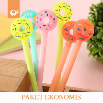 Paket Ekonomis Fancy Gel Pen Pulpen Donat