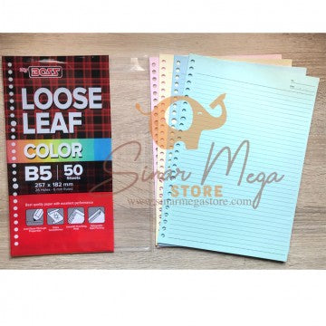 Big Boss Isi Refill Loose Leaf Binder Ukuran B5 50Lbr Warna Rainbow