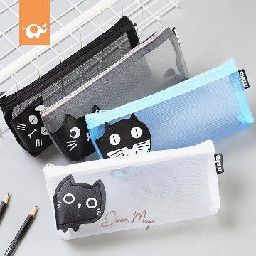Fancy Pencil Case Moko Jaring Motif Kucing