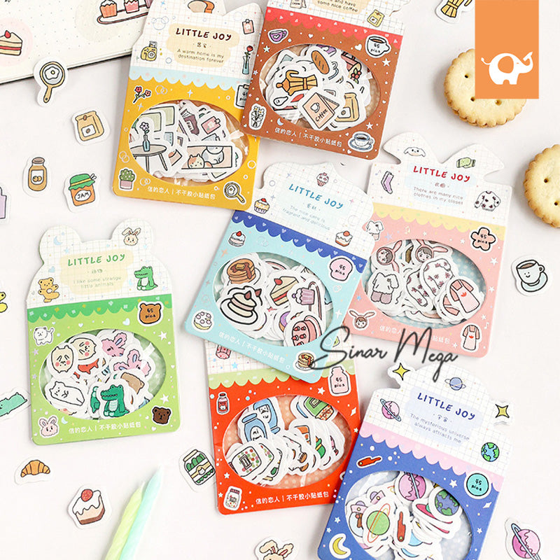Little Joy Illustration Flake Stickers Set / Stiker Lucu Unik Murah