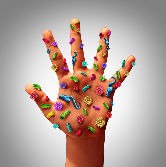image of hand covered with germs