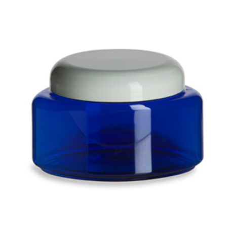 Cobalt Jar with White Lid