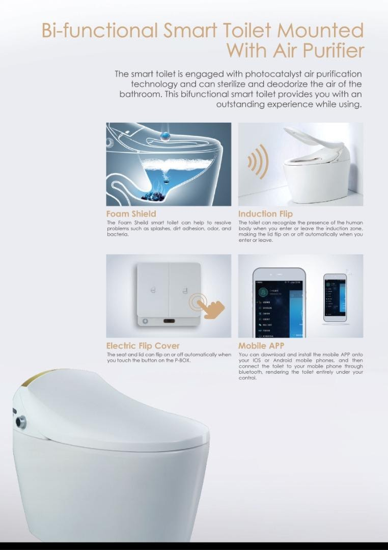 automatic water closet toilet bowl features