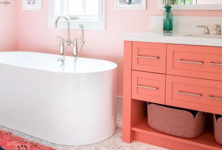 dreamy pink and orange bathroom