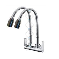 Wall Sink Tap with Double Wave Spout