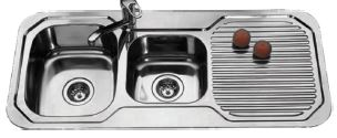 SUS304 Double Bowl With Double Drainer Sink (6072393334970)