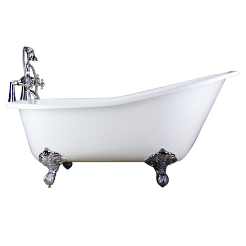 Free Standing Bathtub c/w Faucet & Chrome Finished Leg