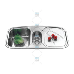 SUS304 Double Bowl With Drainer Sink (5377146323106)