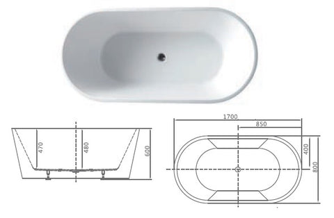 modern built-in bathtub