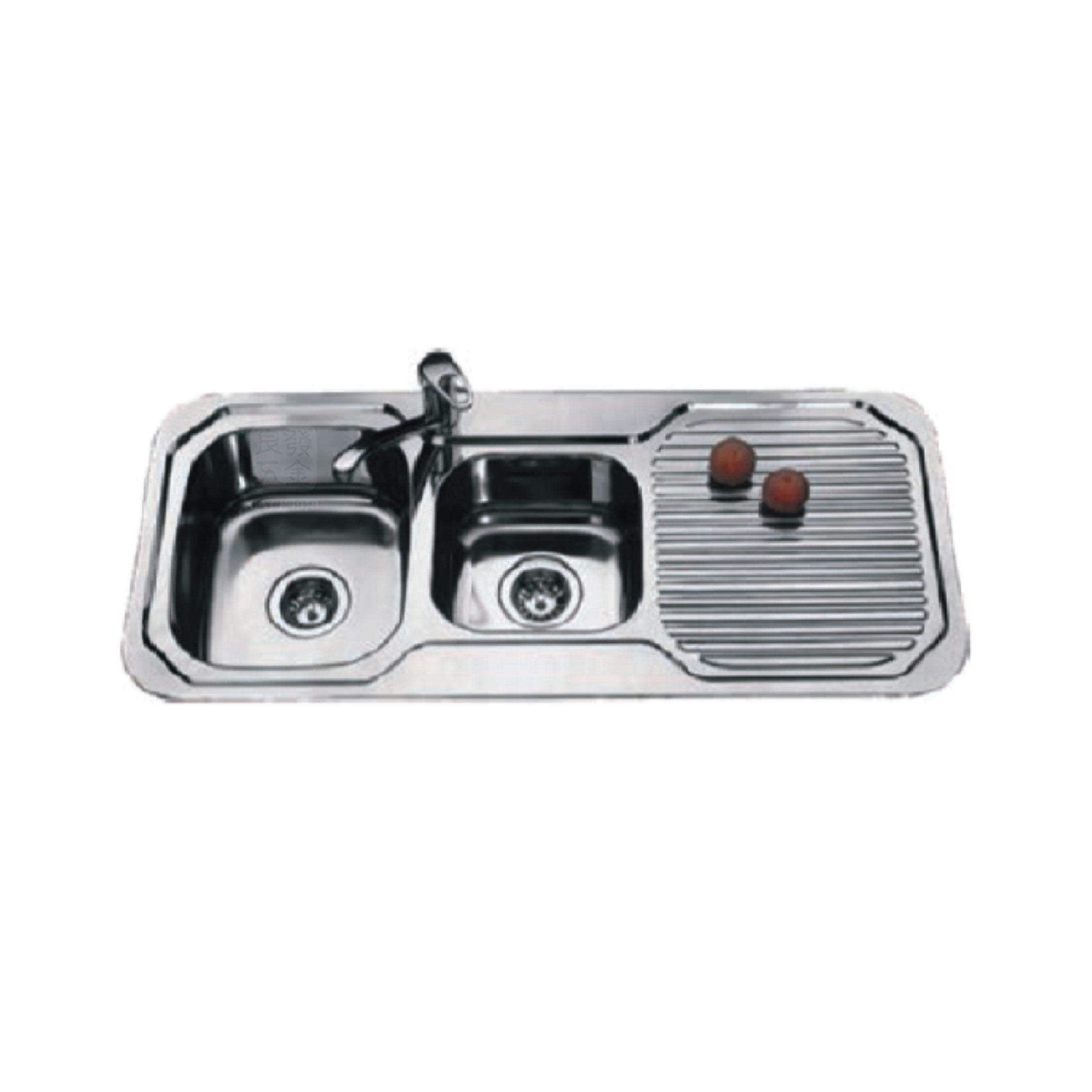 SUS304 Double Bowl With Drainer Sink