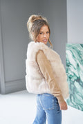 eco faux fur vest grey outwear warm winter gillet gilet maison valentina