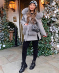 'Louis' Cashmere and Fox Fur Coat - Grey