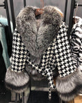 'Ayla' Tweed and Fox Fur Coat