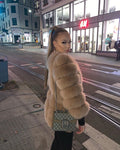 faux fur eco vegan grey pelliccia outwear coat winter mantel maison valentina
