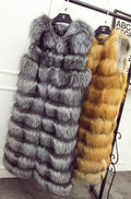 "A long red fox fur woman vest called ""Lucia"" designed by MVFURS."