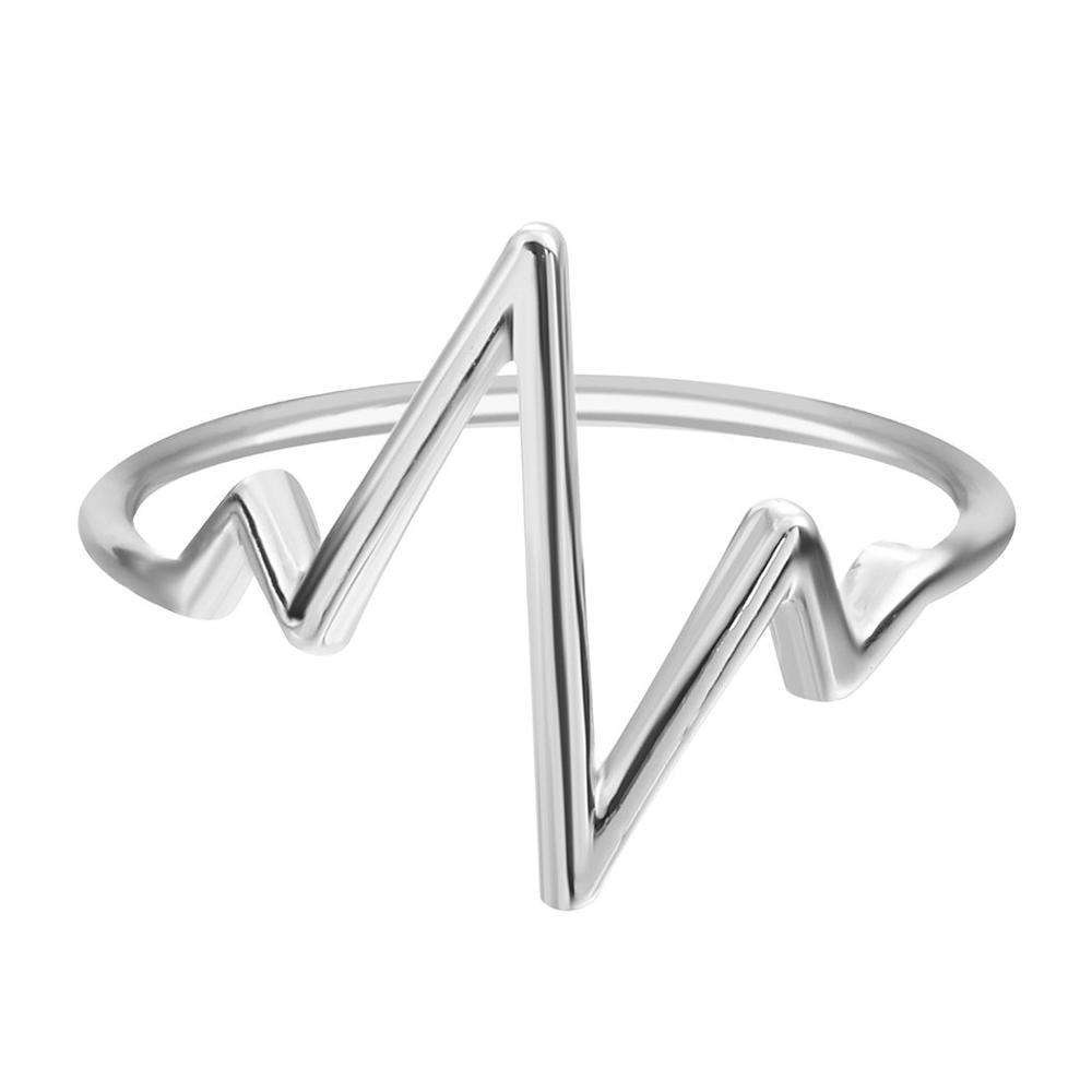 Hot Selling Silver Lifeline Pulse Heartbeat Band Ring