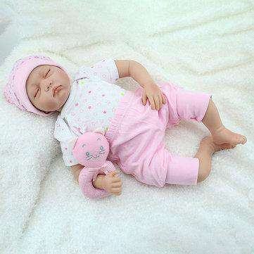 NPK 22inch Reborn Baby Doll Silicone Handmade Lifelike Baby Play House Toy