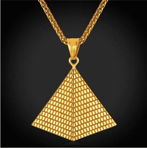 personality stainless steel gold fan-shaped triangle pendant
