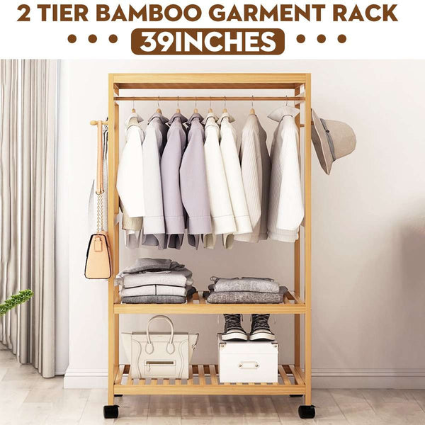 Wooden Clothes Garment Hanging Stand Rack Household Clothes