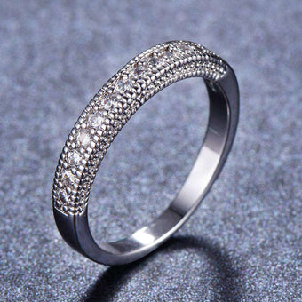 Micro-inlaid zircon ring wedding fashion jewelry