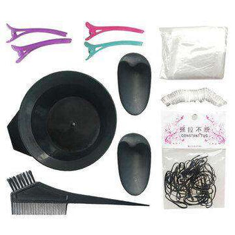 11Pcs Hair Dye Coloring DIY Beauty Salon Tool Kit Brush Comb Bowl Black Clips