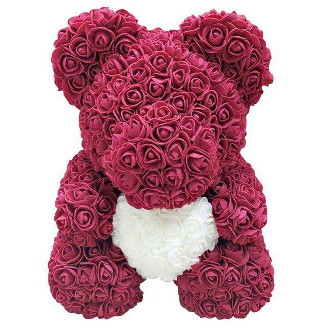 Teddy Bear of Rose Artificial Flowers PE Rose Bear