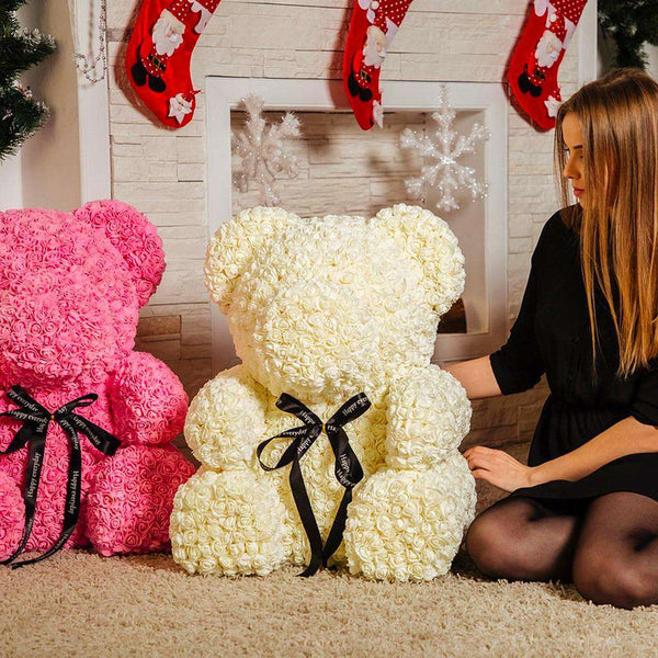 Roses with Box Artificial Flowers Teddy