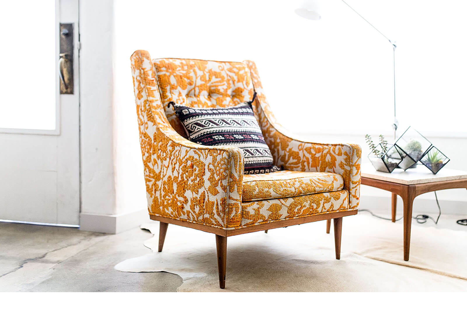 Yellow Fabric Chair From Opulence Home