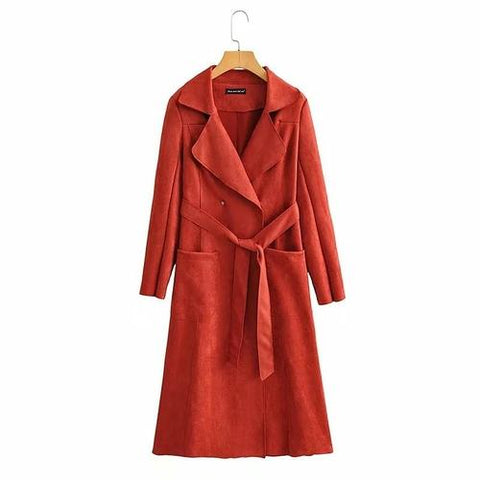 Loose Suede Long Trench Coat