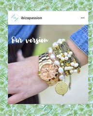 Ibizia Passion arm party arm stack big watch pearls gold pleated wrap bracelet