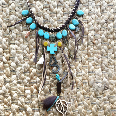 Boho handmade statement necklace ibiza passion
