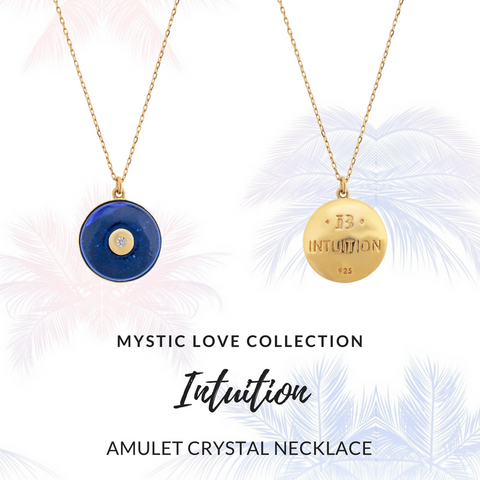 Amulet crystal gold chain necklace
