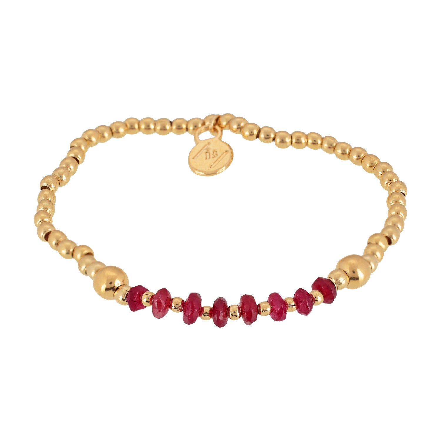 """ARIEL"""" Mini gold beads & crystals bracelet Red Ibiza Passion"""