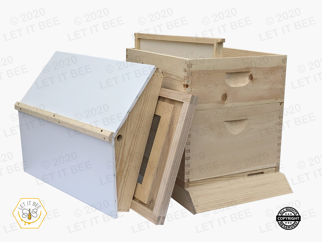 10 Frame Complete Hive Kit Combo w/ Gable Ventilated Telescoping Cover  - Wood Frames