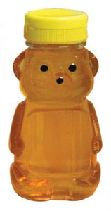 8 oz (226.79g) PETE Plastic Bears - With Yellow Flip Top Lids - 24 pack