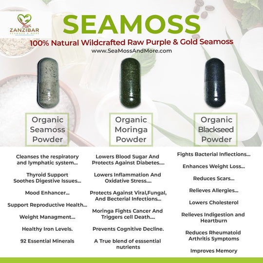 Trio Pack - Seamoss, Blackseed, Moringa (1 Month Supply)