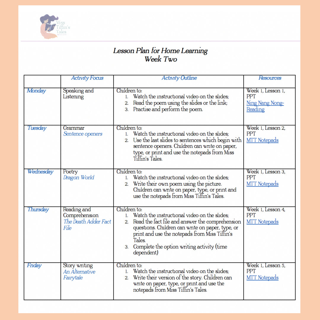 Home Learning- Week Two
